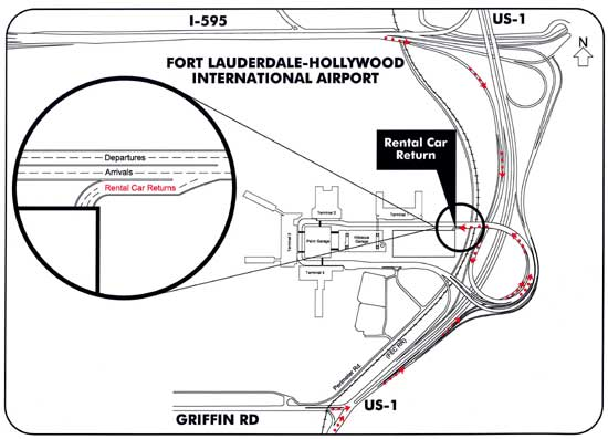 Fort Lauderdale Airport Rental Car Return Map